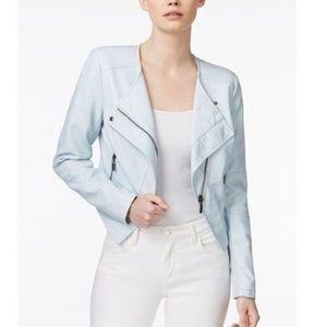 Bar III Ice Blue Asymmetrical Leather Moto Jacket